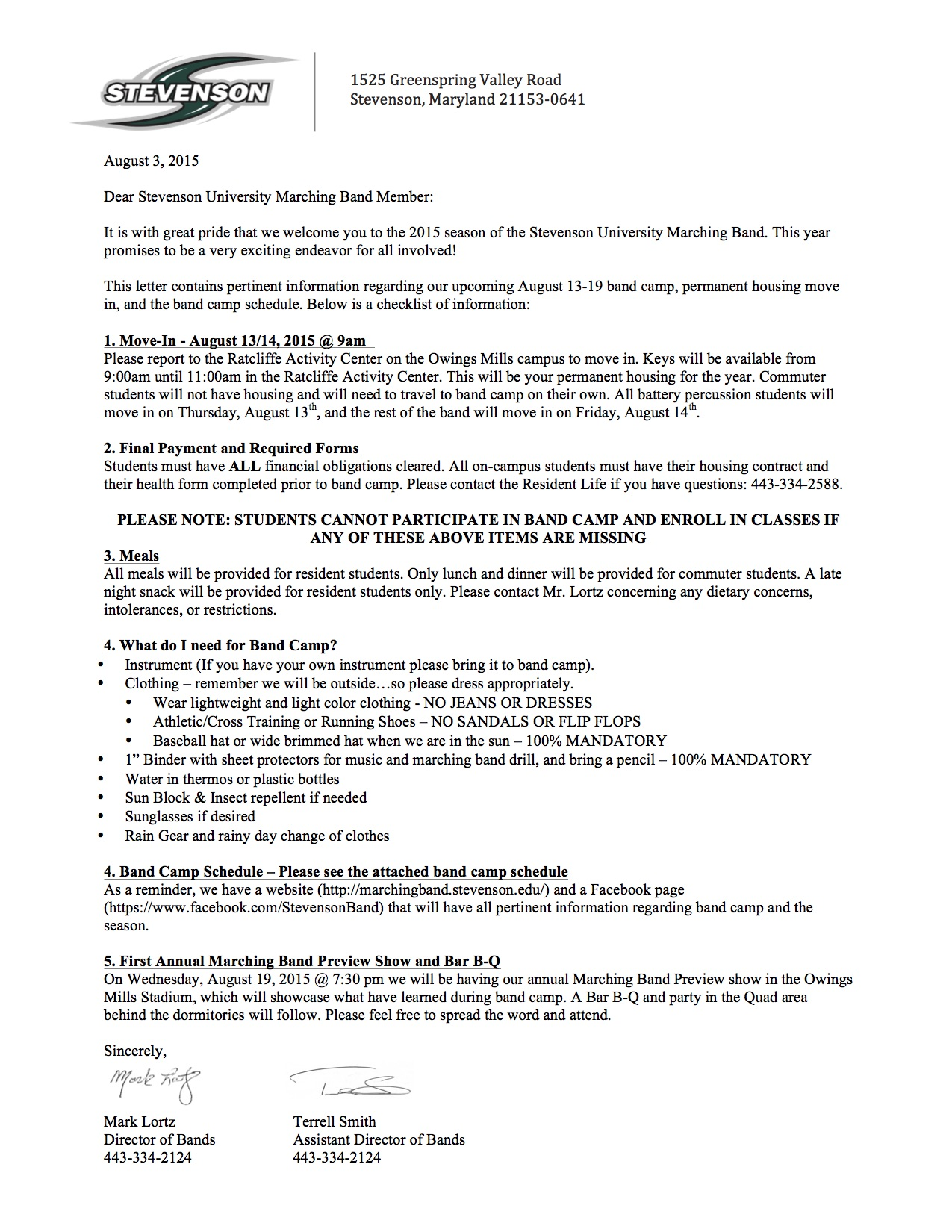 2015 Band Camp Letter